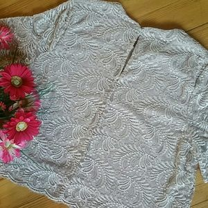 Elodie Tops - {Elodie} Blush Soft Lace Short Sleeved Top Blouse